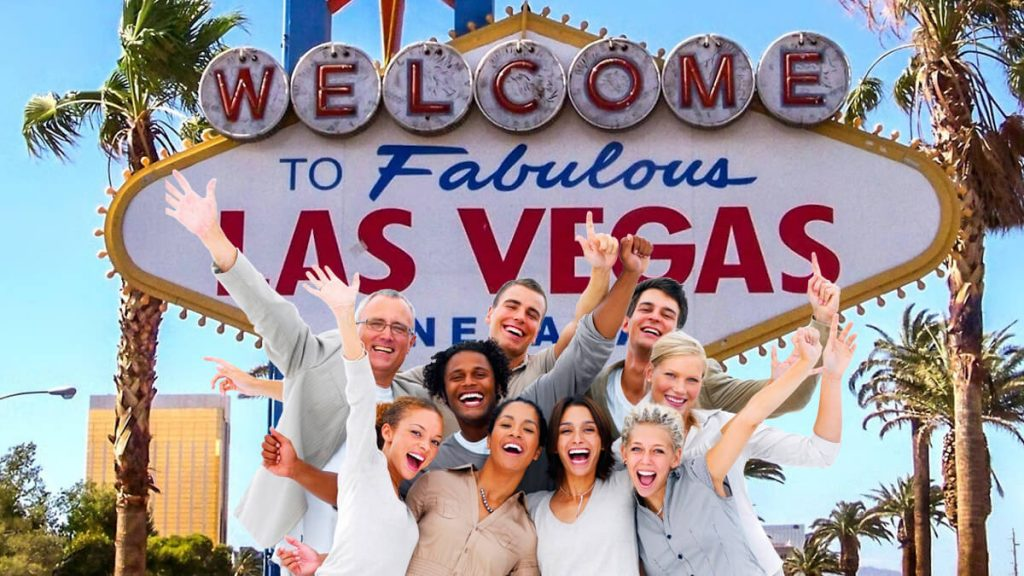 Welcome to Fabulous Las Vegas Sign - Group of People Looking Happy and Excited