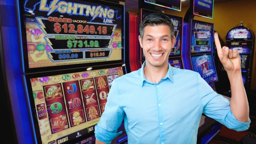 Lightning Slot Machines in a Casino - Guy With a Big Smile